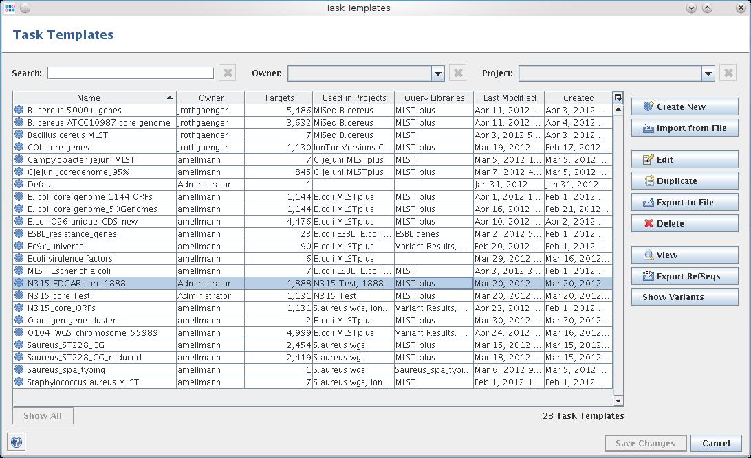 managing task templates ridom seqsphere documentation